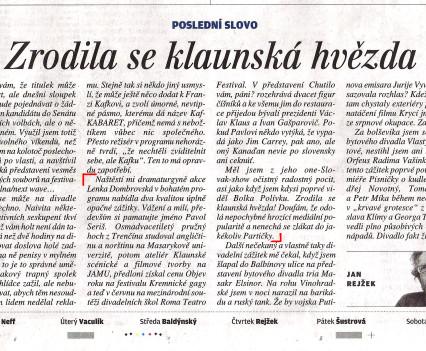 Article by Jan Rejžek, Lidové noviny, 9.10.2014